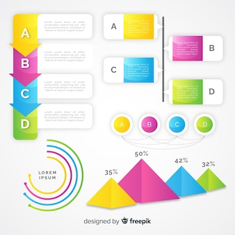 Infographik elementsammlung mit farbverlauf