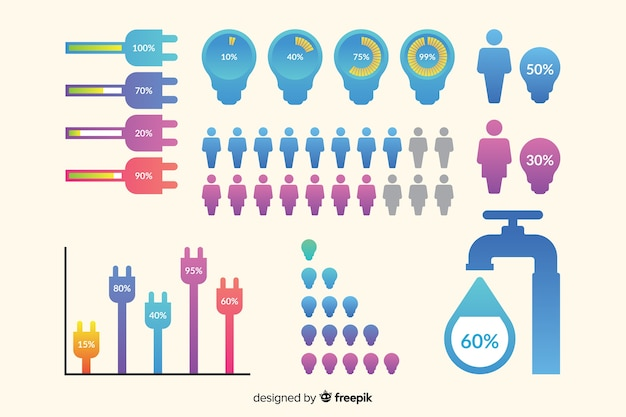 Infographik entwicklung elemente sammlungsvorlage