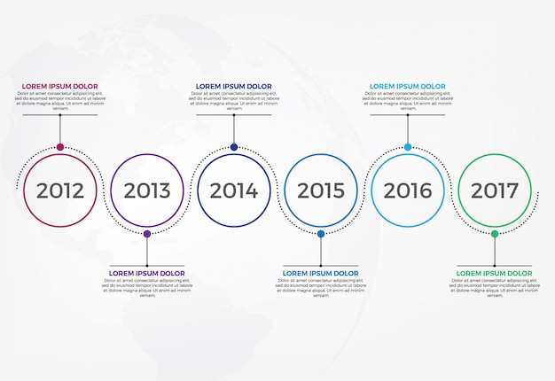 Infographik entwurfsvorlage für horizontale timeline.