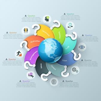 Infographik entwurfsvorlage. spirale mehrfarbige elemente mit fragezeichen rund um globus, piktogramme und textfelder geschwungen