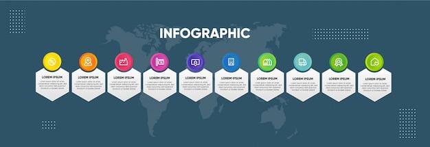 Infographik farbige horizontale entwurfsvorlage