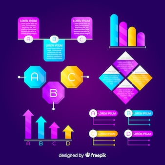 Infographik farbverlauf elementsammlung