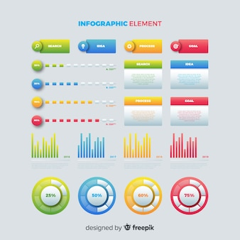 Infographik farbverlauf vorlage mit diagrammen