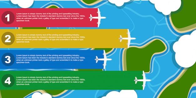 Infographik flugzeug illustration geschäftsreise. flugzeug vorlage banner element. flache informationstafel infokarte