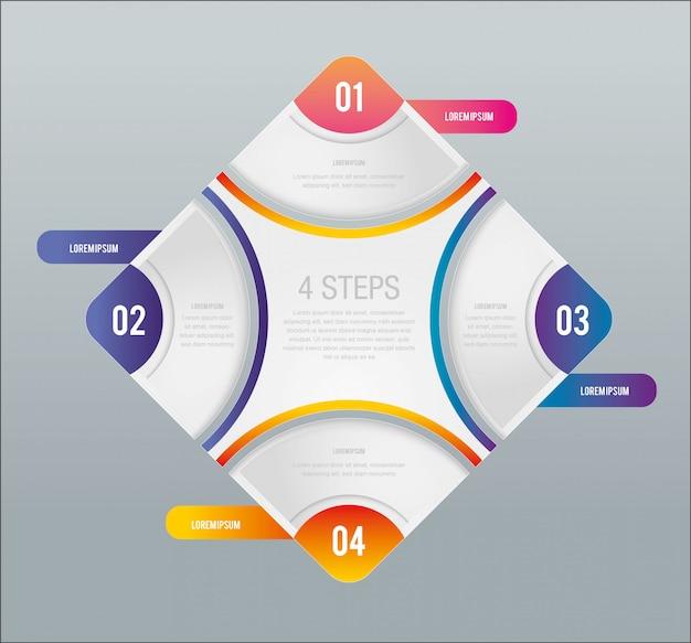 Infographik four steps design