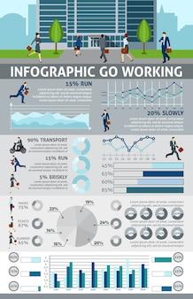 Infographik gehen arbeitende leute