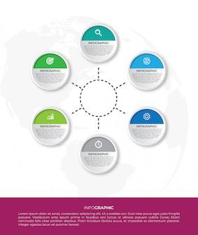 Infographik geschäftskonzept mit 6 optionen. für inhalte, diagramme, flussdiagramme, schritte, teile, zeitleisteninfografiken, arbeitsabläufe und diagramme.