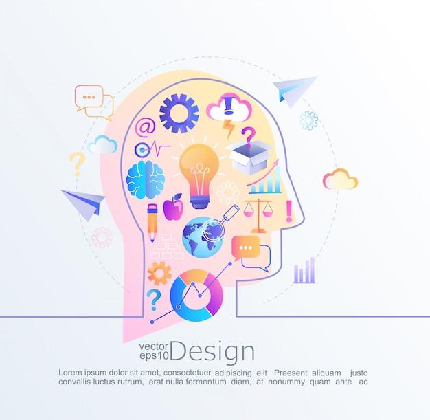 Infographik konzept der großen inspiration in unserem gehirn