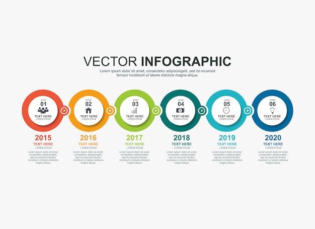 Infographik kreiselemente timeline-prozessdiagrammvorlage