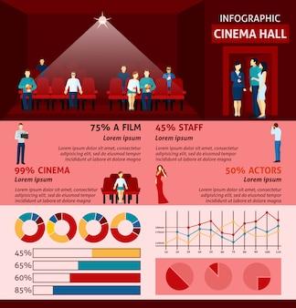 Infographik-leute, die kino besuchen