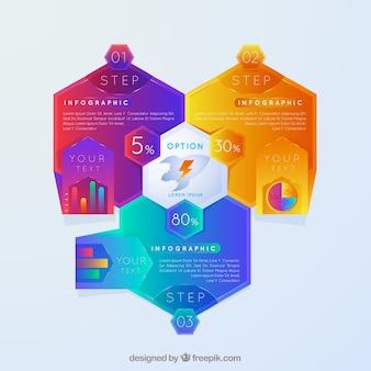 Infographik mit bunten sechsecken