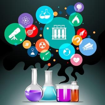 Infographik mit wissenschaftsausrüstung