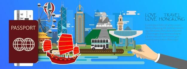 Infographik-pass hong kong mit reisemarken mit wahrzeichen von hong kong