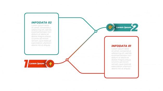 Infographik präsentationsvorlage mit marketing-symbole und schritte, optionen. elemente.