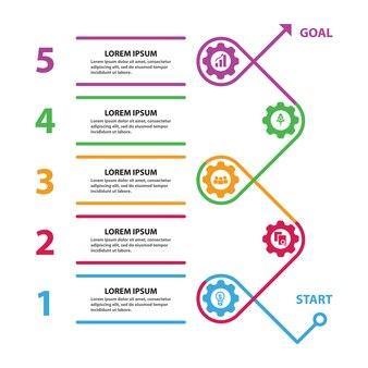 Infographik-prozess mit routing-gear-elementen