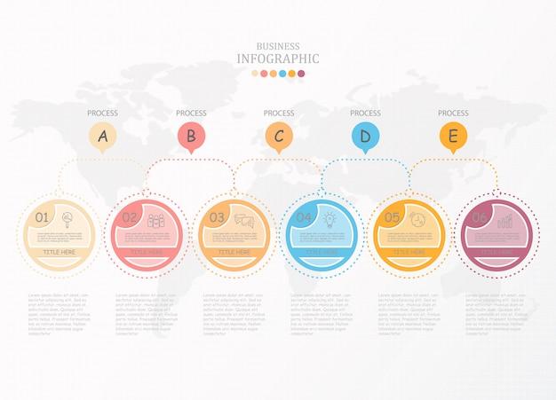 Infographik prozess und symbole.