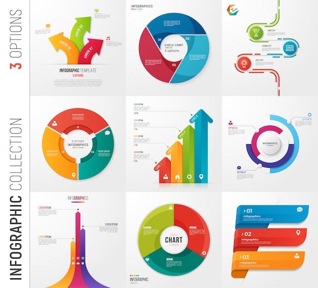 Infographik sammlung von optionen vektorvorlagen