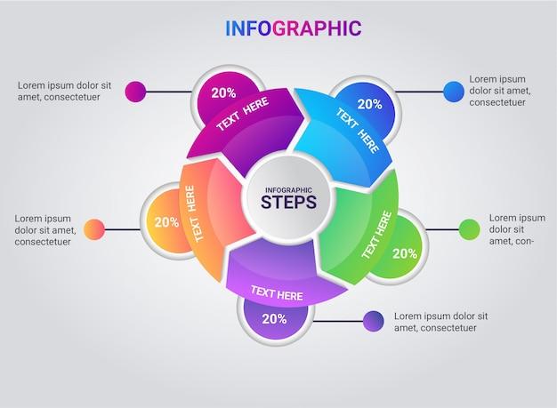 Infographik schritt voller farbverlauf
