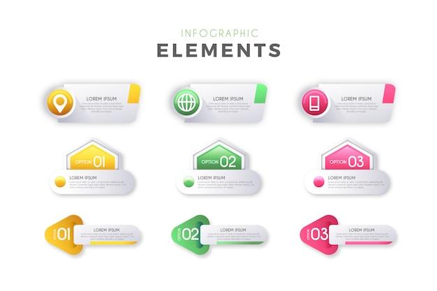 Infographik schritte elemente
