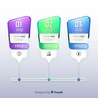 Infographik schritte farbverlaufsvorlage