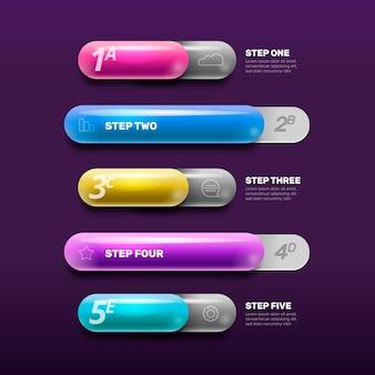 Infographik schritte im farbverlauf