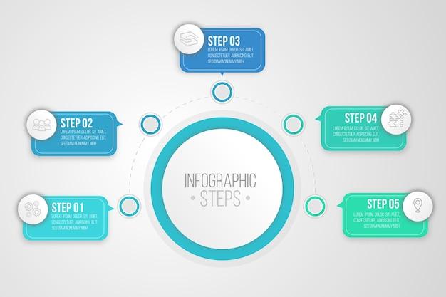 Infographik schritte im flachen stil