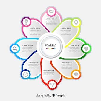 Infographik schritte vorlage farbverlaufsart