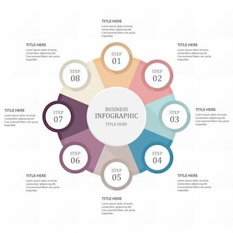 Infographik sechseck 8 kreis oder schritte für unternehmen. lila farben konzept.