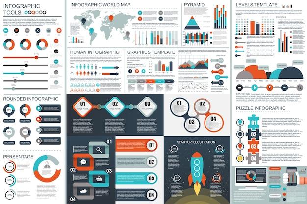 Infographik teamwork elemente vektor entwurfsvorlage