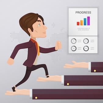 Infographik template-design mit business-mann-charakter