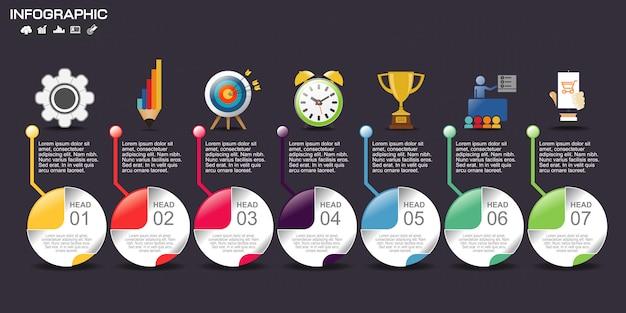 Infographik template-design mit symbolen und optionen.