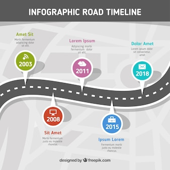 Infographik-timeline-konzept mit straße