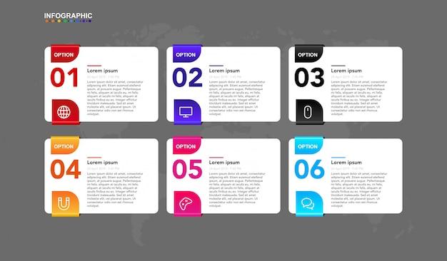 Infographik vorlage für business 6 schritt timeline workflow mit symbol und artikel. erstklassige infographic fahne eingestellt in vektor