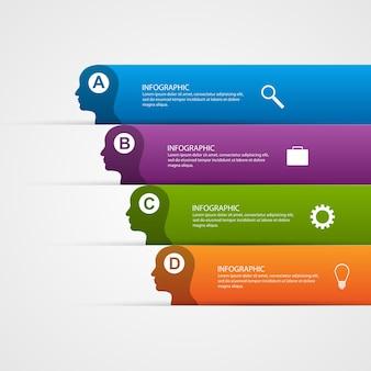 Infographik vorlage für silhouette kopf.