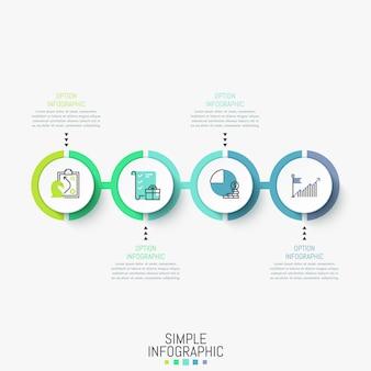 Infographik vorlage. horizontales diagramm mit runden elementen nacheinander verbunden durch linie, ikonen und textfelder.