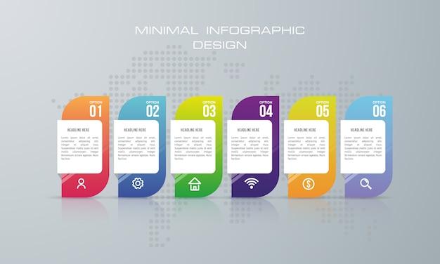 Infographik vorlage mit 6 optionen, workflow, prozessdiagramm, timeline infografiken design