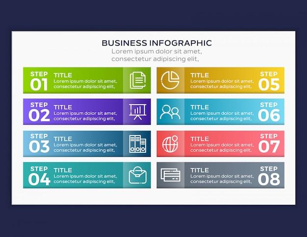 Infographik vorlage mit acht schritten