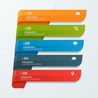 Infographik vorlage mit bändern banner pfeile 5 optionen