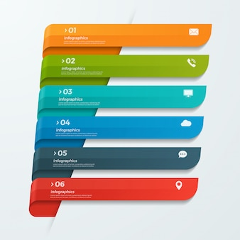 Infographik vorlage mit bändern banner pfeile 6 optionen