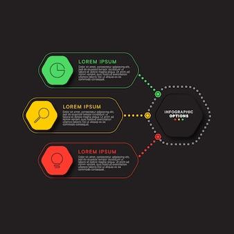 Infographik vorlage mit drei sechseckigen elementen auf schwarz