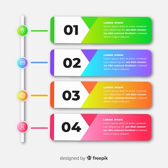 Infographik vorlage mit farbverlauf mit schritten