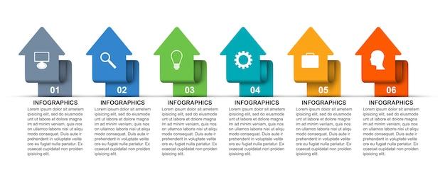 Infographik vorlage mit pfeilen