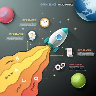 Infographik vorlage mit rakete und planeten