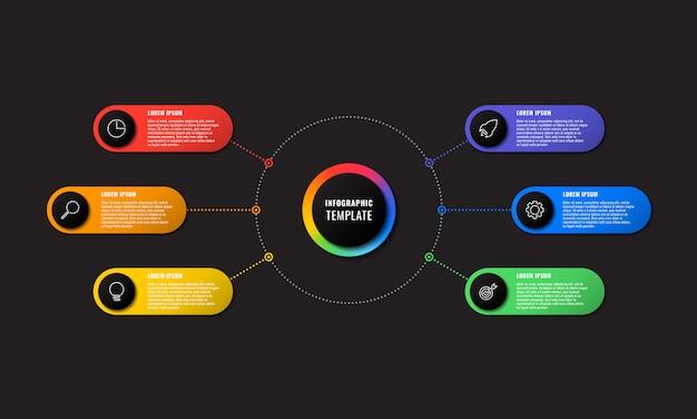 Infographik vorlage mit sechs runden elementen auf schwarz