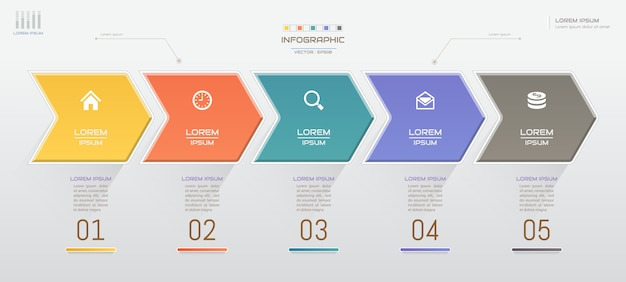 Infographik vorlage mit symbolen