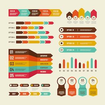 Infographik vorlage. wirtschaftsdiagramme, die diagramme vermarkten, verarbeiten tabelle, zeitachse und organisationsflussdiagramm.