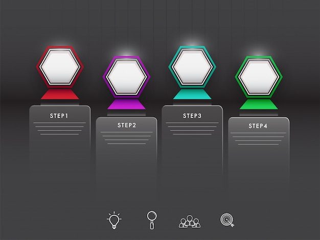 Infographikelemente mit vier schritten mit netzsymbolen auf schwarzem backgr