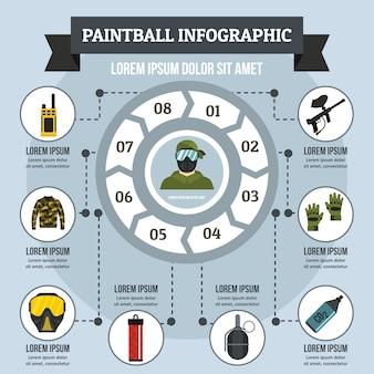 Infographikkonzept des paintballs, flache art