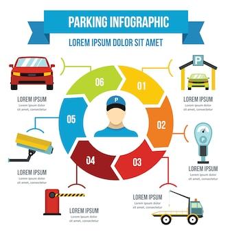 Infographikkonzept des parkservice, flache art