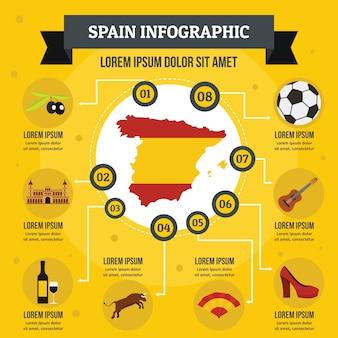 Infographikkonzept spaniens, flache art